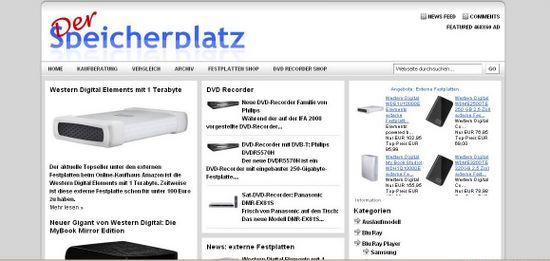 DerSpeicherplatz.de: Infoportal für Festplatten und DVD-Recorder. Ein Projekt der TESTROOM GmbH.