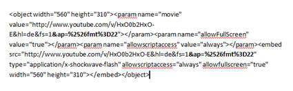 YouTube-Video in HD einbetten: So sieht der Code aus. Fett markiert ist der einzufügende Schnipsel.
