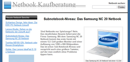 Netbook-Kaufberatung.de: ein vielversprechendes Projekt in Sachen Hardware.
