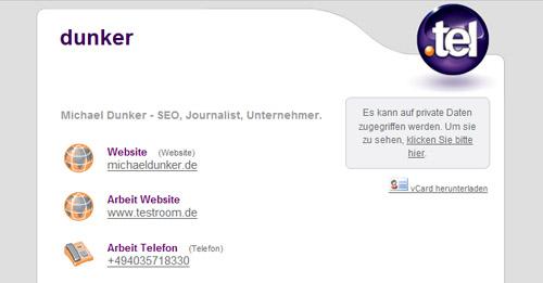 So sieht eine .tel-Domain aus: Die Kontaktdaten von Michael Dunker übersichtlich sortiert.