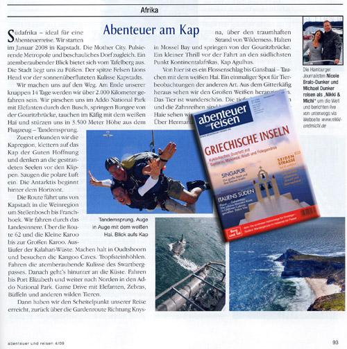 """Reisebericht Südafrika: die Hamburger Traveller Nikki und Michi schreiben in der Zeitschrift """"Abenteuer und Reisen""""."""