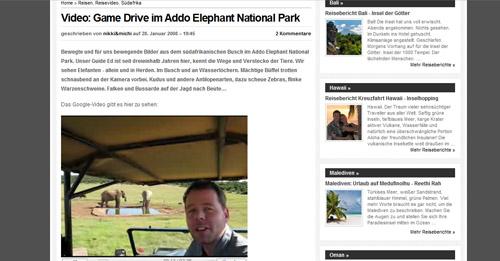 Auf der Website NikkiundMichi.de: Reiseberichte Südafrika mit vielen Fotos und Videos: die Hamburger Traveller Nikki und Michi berichten von Ihrer Reise ans Kap.