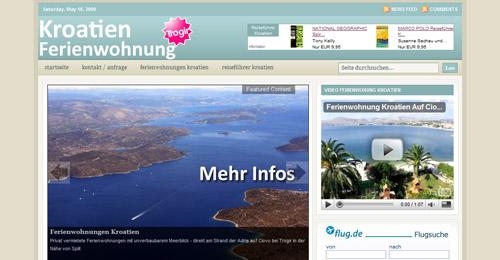 Ein Liebhaber-Projekt: Die Website über Ferienwohnungen in Kroatien hat einen unaussprechlich lange Domain-Namen.