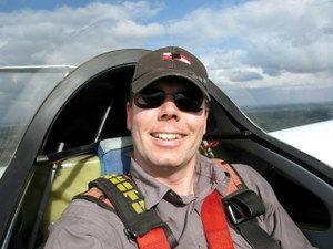 Michael Dunker im Segelflieger.