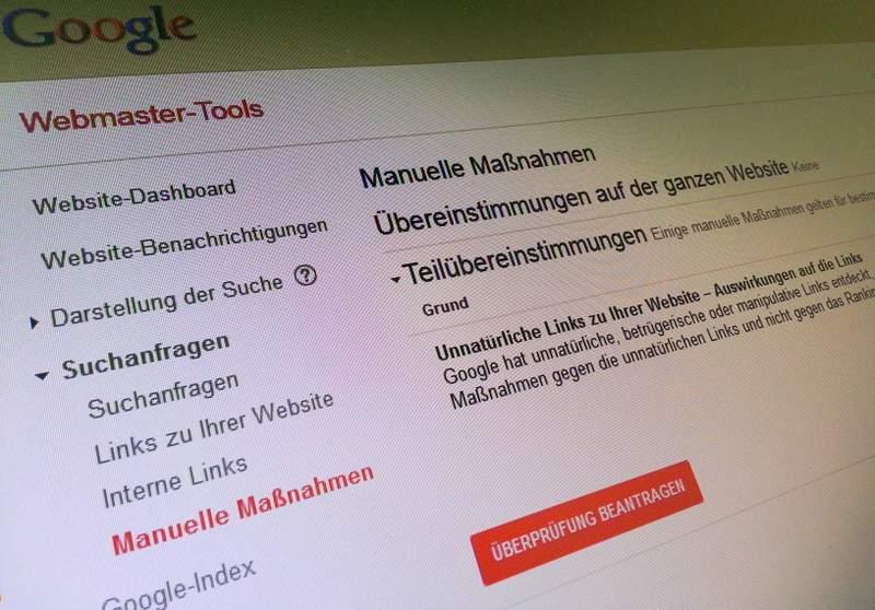 manuelle massnahmen google